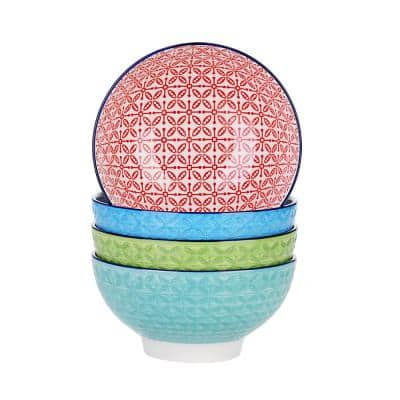 20.29 fl. oz. 4-Piece Modern Assorted Colors Porcelain Dinnerware Sets Bowl (Service for Set for 4)