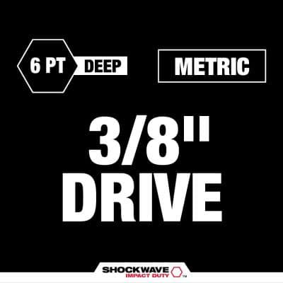 SHOCKWAVE Impact Duty 3/8 in. Metric and SAE Deep Impact Rated Socket Set (16-Piece)