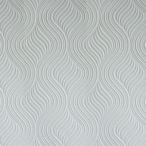 White Vinyl Non-Pasted Moisture Resistant Wallpaper Roll (Covers 56 Sq. Ft.)