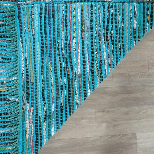 Safavieh Rag Rug Turquoise Multi 8 Ft X 10 Ft Area Rug Rar125c 8 The Home Depot