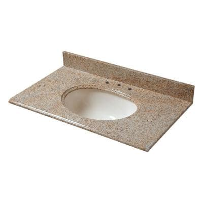 37 in. W Granite Vanity Top in Beige with Biscuit Bowl and 8 in. Faucet Spread