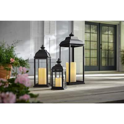 30 in. Traditional Black Steel Outdoor Patio Lantern