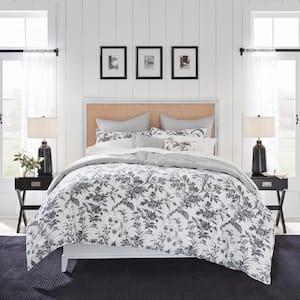 Amberley 7-Piece Charcoal Gray Cotton Full/Queen Bonus Comforter Set
