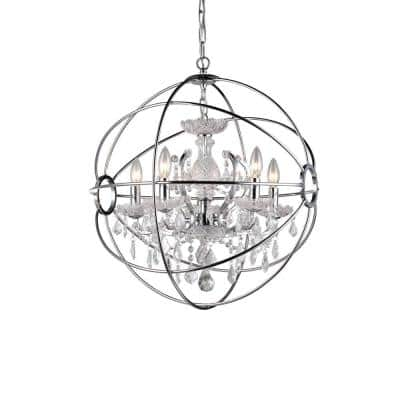 Saturn's Ring 6-Light Chrome Indoor Crystal Chandelier with Shade