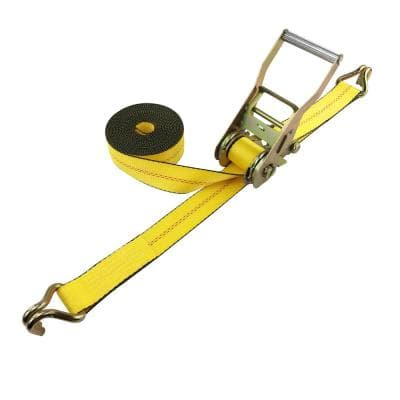 "2 in. x 27 ft. 10,000 lbs. Self Tensioning Ratchet Strap with Double ""J"" Hooks"