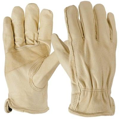 Large Tan Pigskin Leather Glove