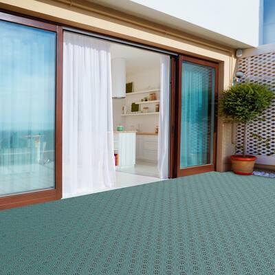 11.5 in. x 11.5 in. Green Outdoor Interlocking Diamond Pattern Polypropylene Patio and Deck Tiles (Set of 30)