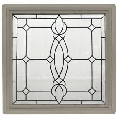 23.5 in. x 23.5 in. Bronze Frame Spring Flower Nickel Caming 1 in. Nail Fin Offset Vinyl Picture Window
