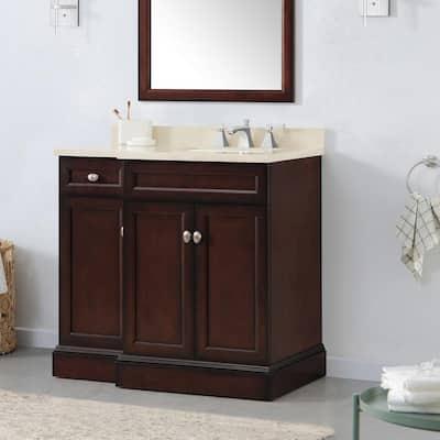 Teagen 36 in. W Bath Vanity in Dark Espresso with Cultured Stone Vanity Top in Beige with White Basin