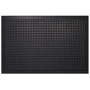 Black Durable Bubble Surface Anti-Fatigue Scraper 36 in. x 24 in. Rubber Floor Mat