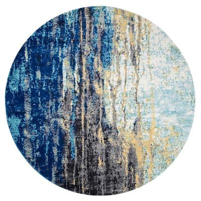Katharina Modern Abstract Blue 6 ft. Round Rug