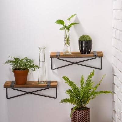 Rustic Farmhouse Metal Wooden Wall Shelf (Set of 2)