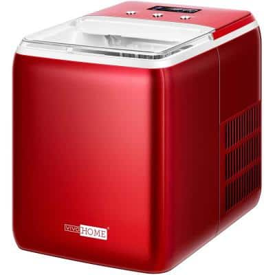Electric 44 lbs./Day Portable Automatic Ice Maker with Self Cleaning Function and Scoop in Red