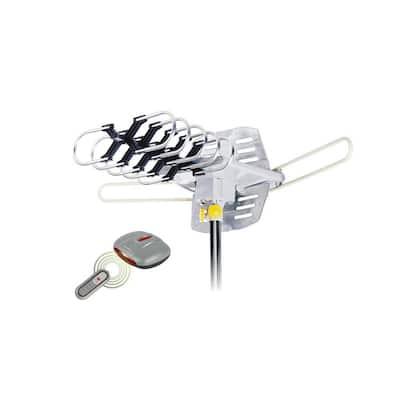Amplified HD Digital Outdoor HDTV Antenna Motorized 360° Rotation UHF VHF FM Radio Remote