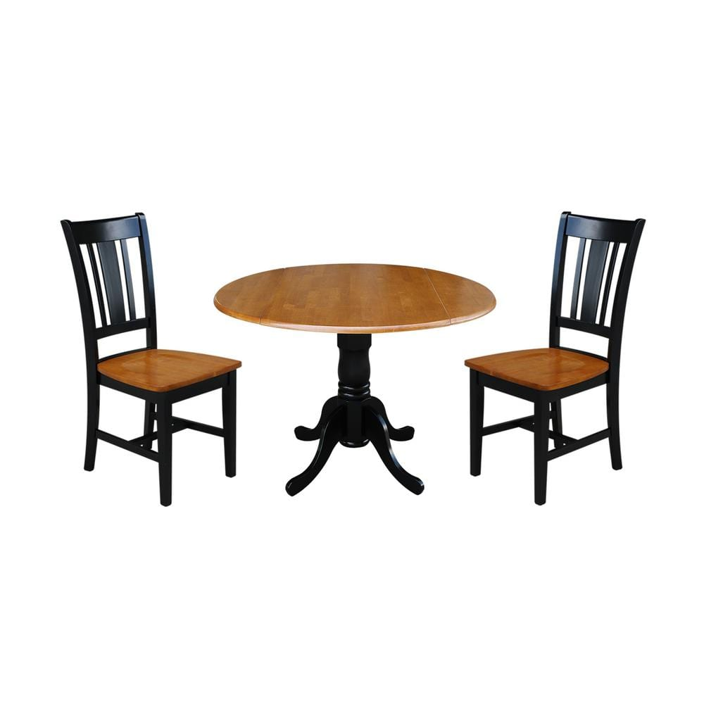 International Concepts Brynwood 3 Piece 42 In Black Cherry Round Drop Leaf Wood Dining Set With San Remo Chairs K57 42dp C10 The Home Depot