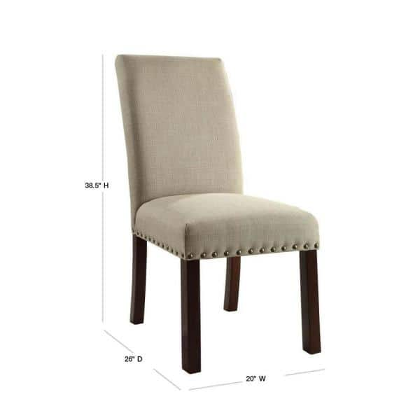 Homepop Michele Parsons Light Tan Upholstered Dining Chairs With Nailhead Trim Set Of 2 K6380 F1326 The Home Depot