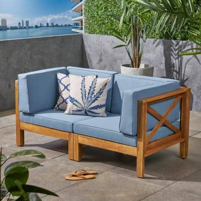Brava Teak Brown 2-Piece Wood Outdoor Loveseat with Blue Cushions
