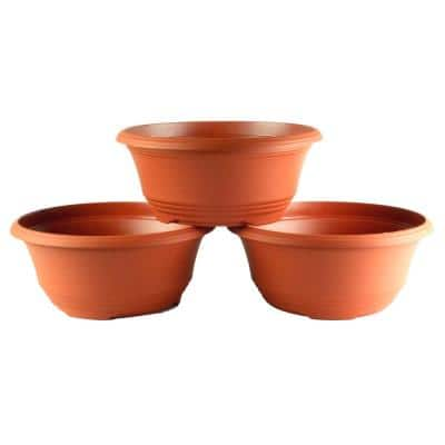 10 in. Terra Cotta Plastic Bowl Planter (3-Pack)
