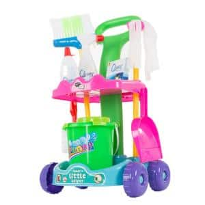 Pretend Play Cleaning Set and Caddy on Wheels