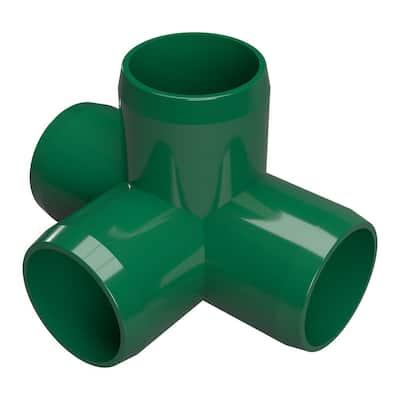 1-1/4 in. Furniture Grade PVC 4-Way Tee in Green (4-Pack)