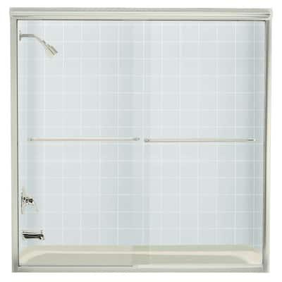 Finesse 59-5/8 in. x 58-5/16 in. Frameless Sliding Tub Door in Nickel with Handle