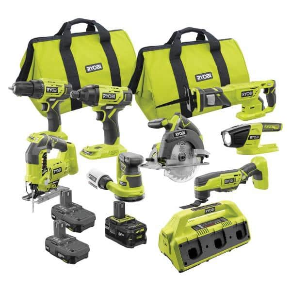 RYOBI ONE+ 18V Cordless 9-Piece Combo Kit with 3 Batteries and 6-Port SUPERCHARGER   The Home Depot