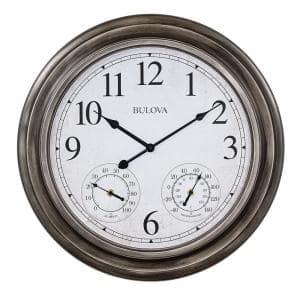 Indoor/Outdoor Molded Silver Tone Case 20 in. Round Wall Clock