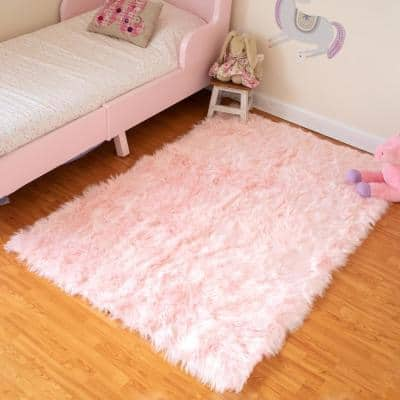 Pink 3 ft. x 5 ft. Luxuriously Soft and Eco Friendly Rectangle Faux Fur Area Rug