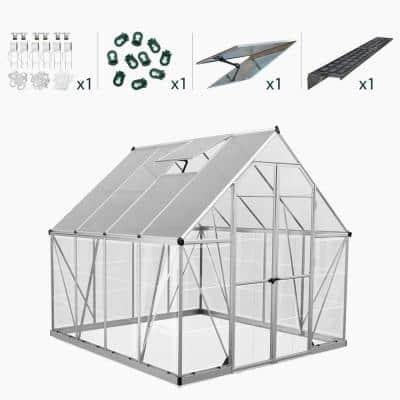 Balance 8 ft. x 8 ft. Silver Polycarbonate Greenhouse Including Accessory Combo Pack