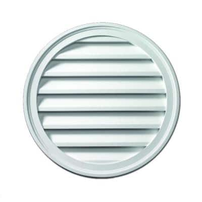 24 in. x 24 in. Round White Polyurethane Weather Resistant Gable Louver Vent