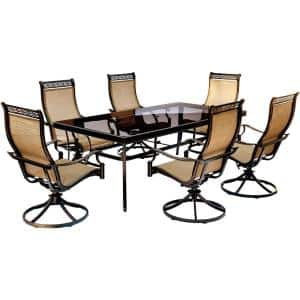 Monaco 7-Piece Aluminum Outdoor Dining Set with Rectangular Glass-Top Table and Contoured Sling Swivel Chairs
