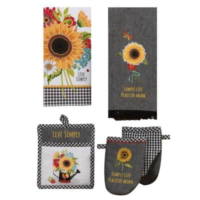 Sunflower Charm Multi-Colored Kitchen Textiles (Set of 4)