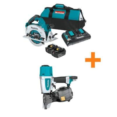 18-Volt X2 LXT (36-Volt) Brushless Cordless 7.25 in. Circular Saw Kit 5.0Ah with Bonus 2.5 in. Pneumatic Siding Nailer