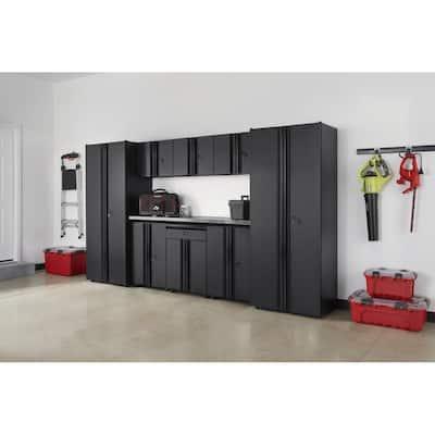 9-Piece Regular Duty Welded Steel Garage Storage System in Black (133 in. W x 75 in. H x 19 in. D)