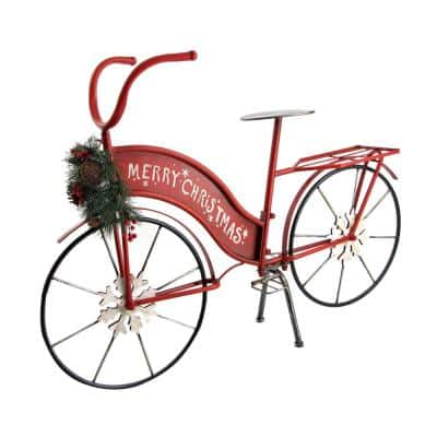 25 in. Tall Red Iron Lighted Merry Christmas Bicycle Decor