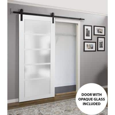 Quadro 4002 24 in. x 80 in. Glass Panel White Solid MDF Barn Door with 6.6 ft. Rail Kit
