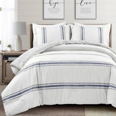 Farmhouse 3-Piece Navy Stripe Cotton King Comforter Set