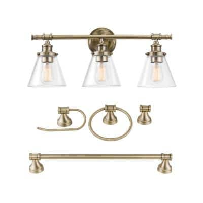 Parker 3-Light Antique Brass 5-Piece All-In-One Bath Vanity Light Set