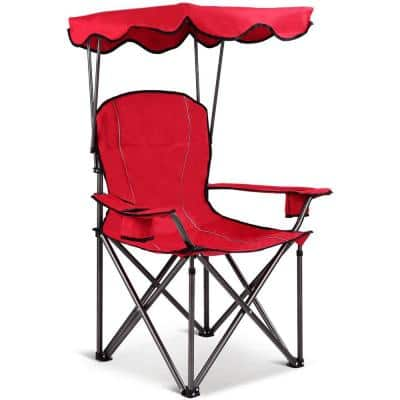 Portable Folding Beach Chair with Cup Holders and Canopy