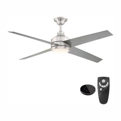 Mercer 56 in. Integrated LED Brushed Nickel Ceiling Fan with Light Kit works with Google Assistant and Alexa