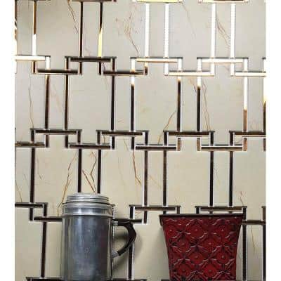 Sand Stone French Pattern Mosaic 6 in. x 6 in. Acrylic & Mirror Decorative Wall Tile (0.76 Sq. ft)