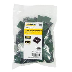 3/4 in. Adhesive or Screw Cable Tie Mount, Black, 100-Pack (Case of 5)