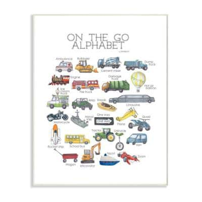 """12 in. x 18 in. """" Watercolor On The Go Alphabet with Firetruck Airplane and School Bus"""" by Dishique Wall Plaque Art"""