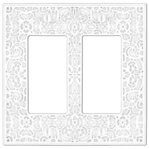 Momfort 2 Gang Rocker Metal Wall Plate - White