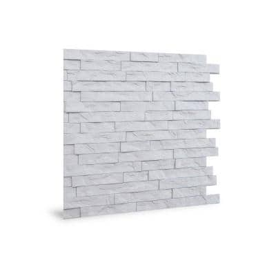 24'' x 24'' Ledge Stone PVC Seamless 3D Wall Panels in White 6-Pieces