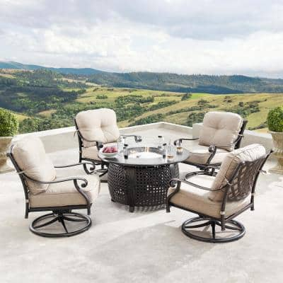 Finland Luxurious Antique Copper 5-Piece Aluminum Patio Fire Pit Deep Seating Set with Tan Beige Cushions