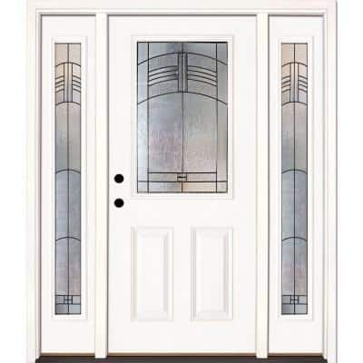 63.5 in. x 81.625 in. Rochester Patina 1/2 Lite Unfinished Smooth Right-Hand Fiberglass Prehung Front Door w/Sidelites
