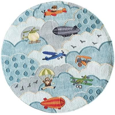 Caprice Collection Sky Blue 5 ft. x 5 ft. Indoor Round Area Rug
