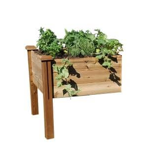 34 in. x 34 in. x 32 in. Modular Raised Garden Bed Safe Finish Extension Kit Wood Planter