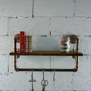 Ann Harbor Industrial 27 in. Brown Wall Display Pipe Shelf Rack Multipurpose-Metal with Reclaimed Wood